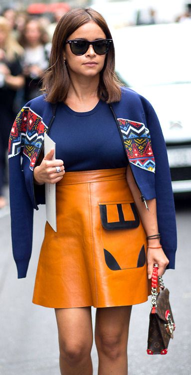 Miroslava Duma in Louis Vuitton Resort 2015 outfit and handbag street style during FW 2014 couture fashion week.