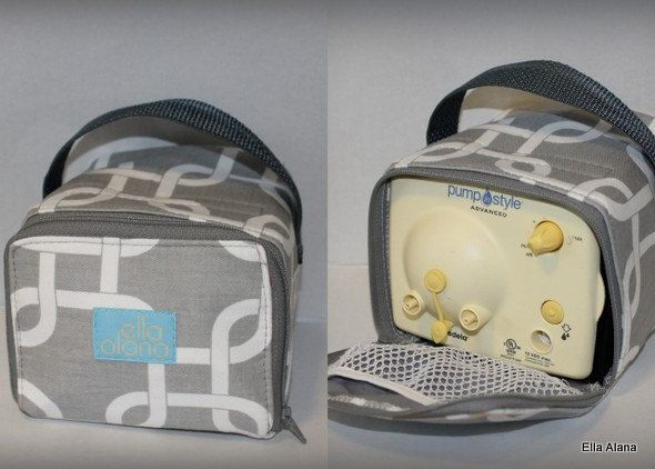 Now available, carrying cases for Medela Pump In Style Advance! Carrying Case in Gray Links print by EllaAlana on Etsy