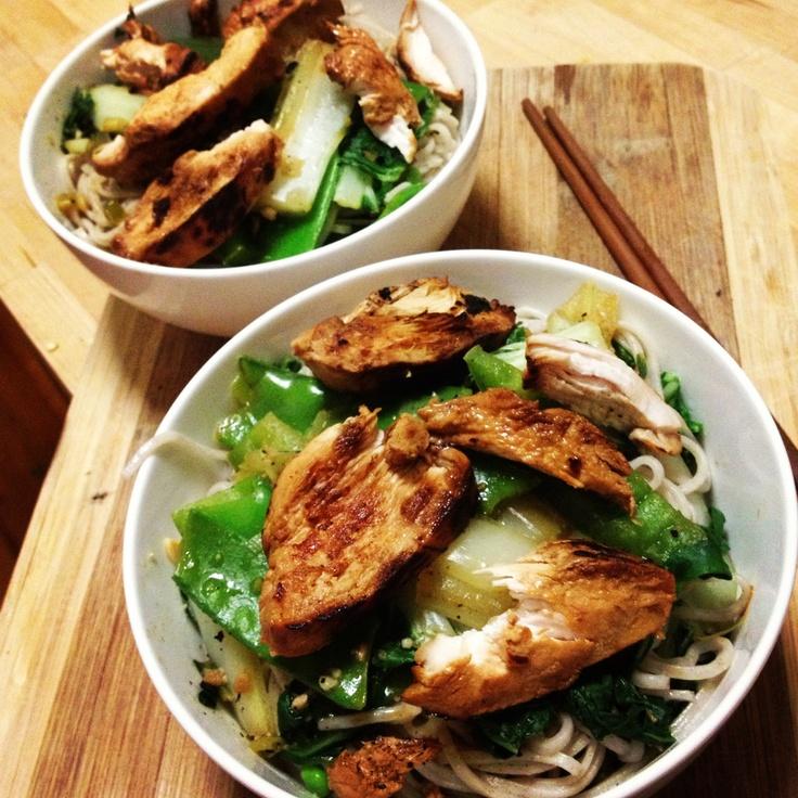 Teriyaki Chicken & Vegetable Stirfry with Noodles - dinner for @brisbanerob & I! Thx @Michelle Flynn Flynn Bridges team  #michellebridges