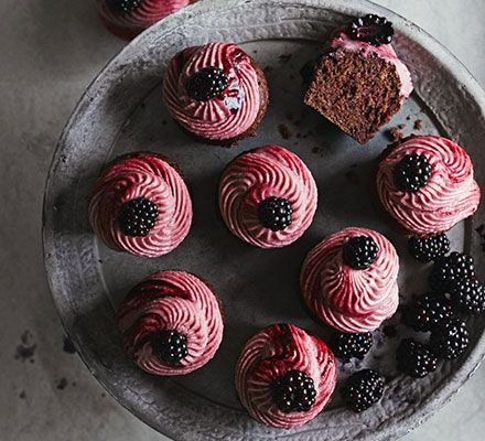 Purple velvet cupcakes with blackberry frosting. Use up an abundance of blackberries with these irresistible chocolate and berry cupcakes - they're almost too pretty to eat