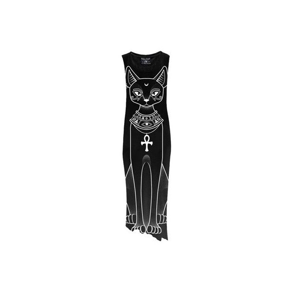 KillStar Bast Egyptian Cat katten jurk zwart ($71) ❤ liked on Polyvore featuring dresses, killstar, oversized dress, patterned maxi dress, print maxi dress and mixed print dress