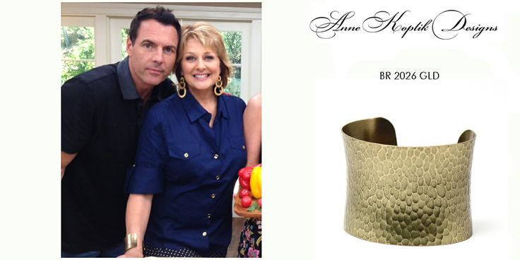 Cristina Ferrare wearing Anne Koplik Designs cuff BR2026GLD on her show Home & Family on Hallmark Channel July 13, 2013. Get yours today at www.annekoplik.com! Available in gold and silver! $20. #cuff #akd #celebrity #tv #homeandfamily #homeandfamilytv