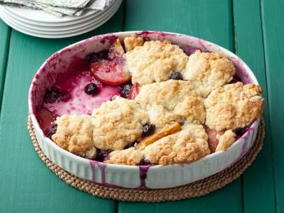 Blueberry and Nectarine Cobbler, I have the nectarines, just need some blackberries or blueberries.  Tomorrow nights dessert!