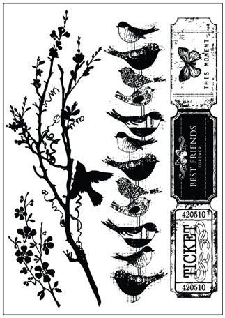 Prima - Songbird Collection - Cling Mounted Rubber Stamps at Scrapbook.com $5.99