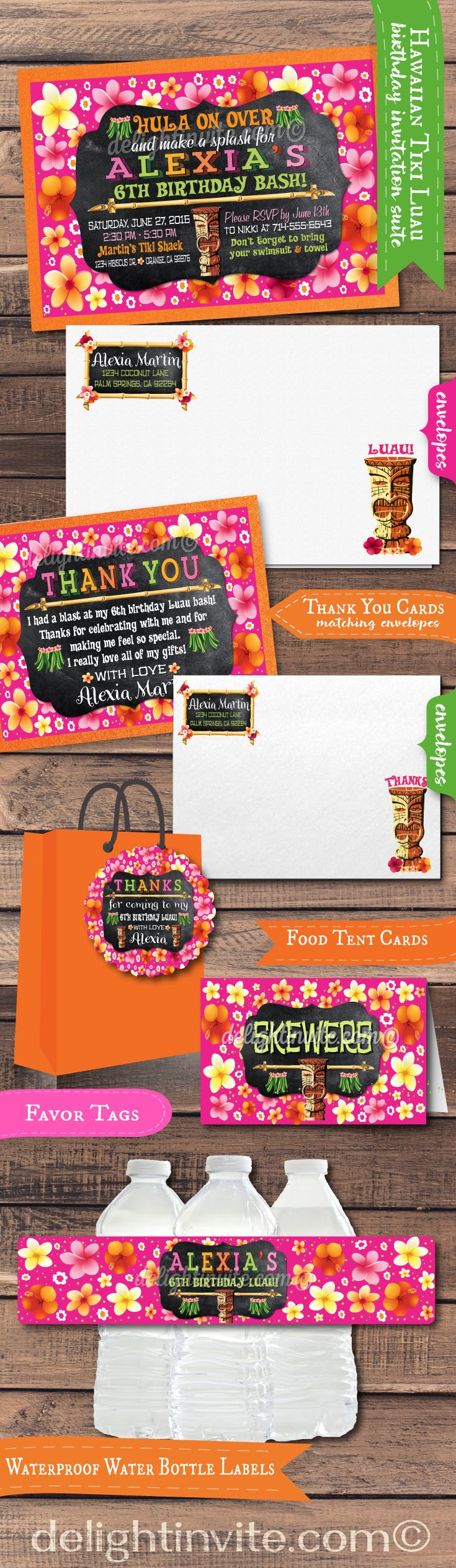 This retro chalkboard tiki Hawaiian Luau party invitation set is perfect for your upcoming Luau celebration! Beautiful colorful hibiscus flowers, vintage fonts, retro tiki gods, and adorable grass skirts makes this Luau party set absolutely fabulous in person! Professionally printed on fantastic, high quality card stocks, this Luau set is a must have!