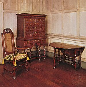 The Antique Wooden Furniture And Floor Chair Cushion Shapes On Walls All Are Part Of American Colonial Time Period
