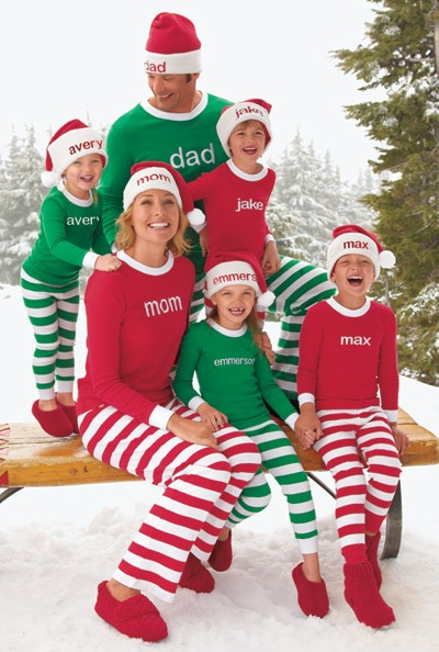 """Deck the whole gang out in our playful family pj's. Kids love seeing their name front and center. They make for very sweet photos and they'll likely be a """"favorite gift"""" contender on Christmas Eve."""