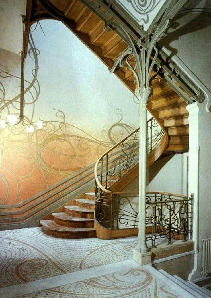 Victor Horta: Tassel House, Brussels - 1892-1893 - Art Nouveau in Brussels - http://arcticphoenixstudios.deviantart.com/art/Hotel-Tassel-Stairwell-54643360