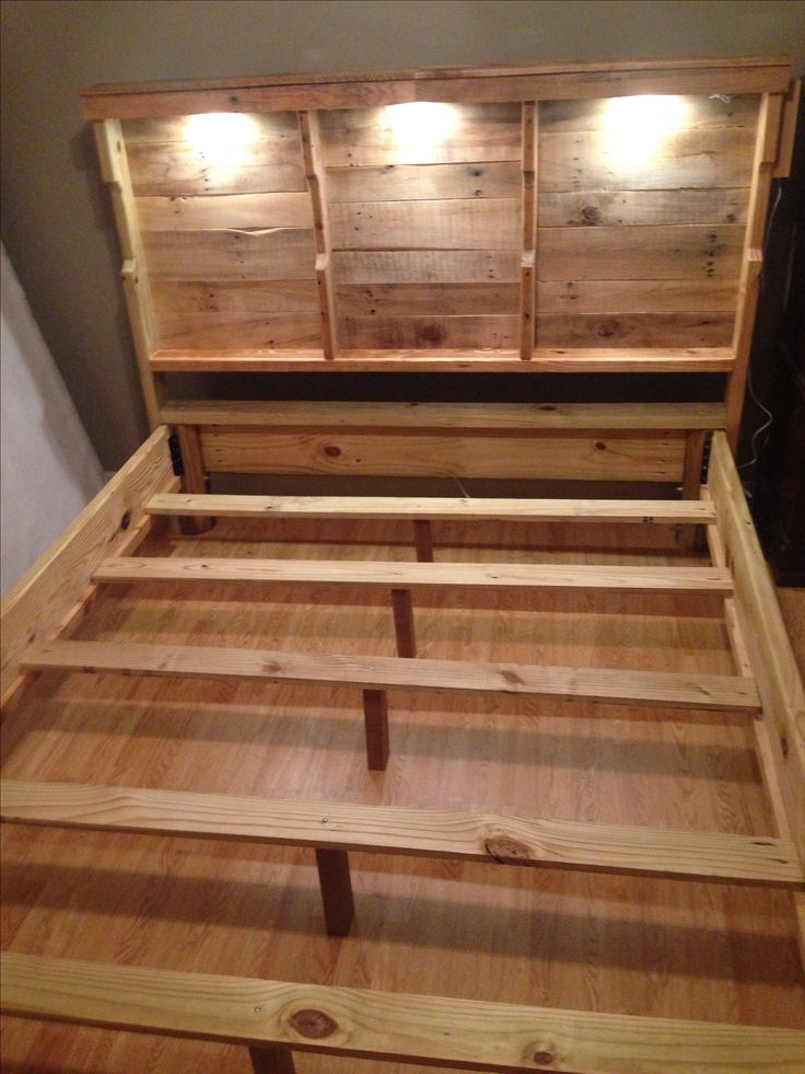 Pallet Headboard With Accent Lighting Projects