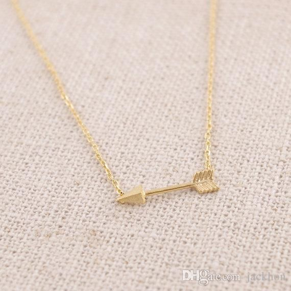 N010 Gold Silver Tiny Horizontal Arrow Necklace Pendant For Women Simple Cute Sideways Arrow Necklace For Men Silver Charms Rose Pendant Necklace From Jackhon, $35.7| Dhgate.Com