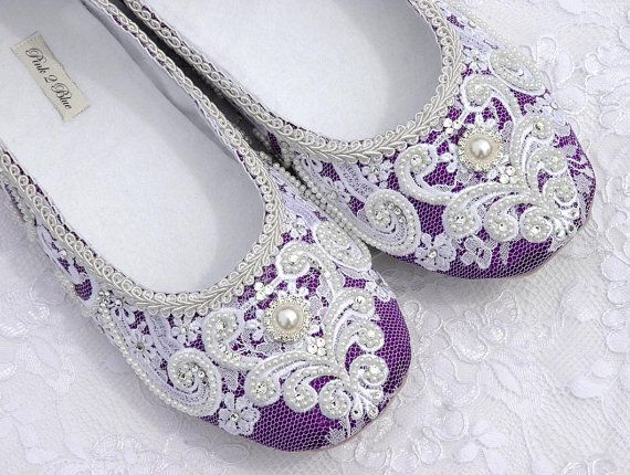 Rachel Wedding Shoes Bridal Ballet Flat Vintage     Gorgeous for a certain Rachel who loves purple!