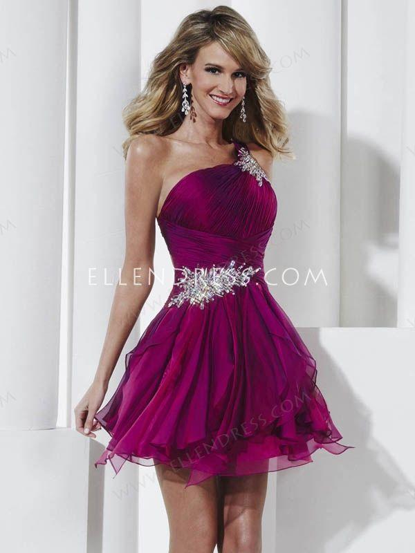 A-line One Shoulder Sleeveless Short/Mini Chiffon Cheap Homecoming Dresses/Short Cheap Prom Dress #FD145 - Short Prom Dresses