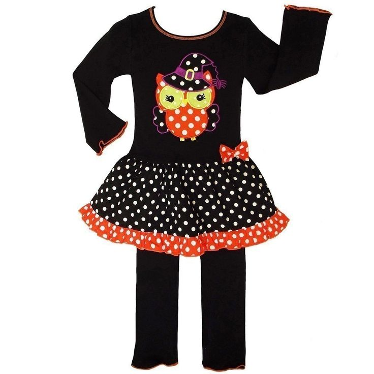 AnnLoren Little Girls Knit Halloween Witchy Owl Dress Clothing Set 2/3T. Halloween Witchy set with owl and polka dots from AnnLoren. Cute and fun two piece set includes tunic and pants. Skirted tunic with colorful owl applique and playful polka dotted print. Coordinating pants complete the set. Sizing is based on U.S. clothing size standards.