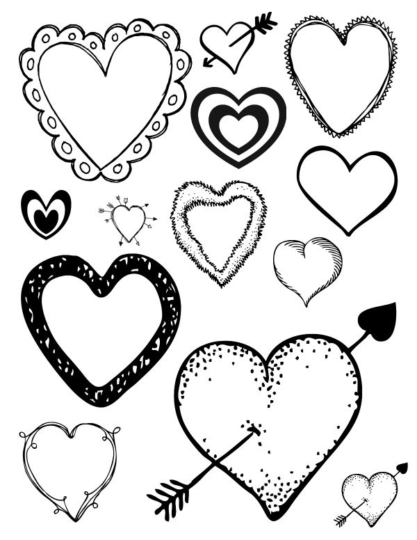 Free Printable Loving Hearts Coloring Page | Heart ...