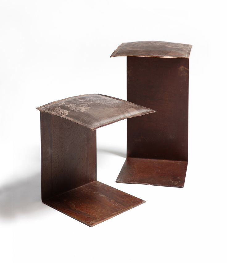 steel seat with leather pillow #design #harrierdesign #leather #stool #seat #vintage