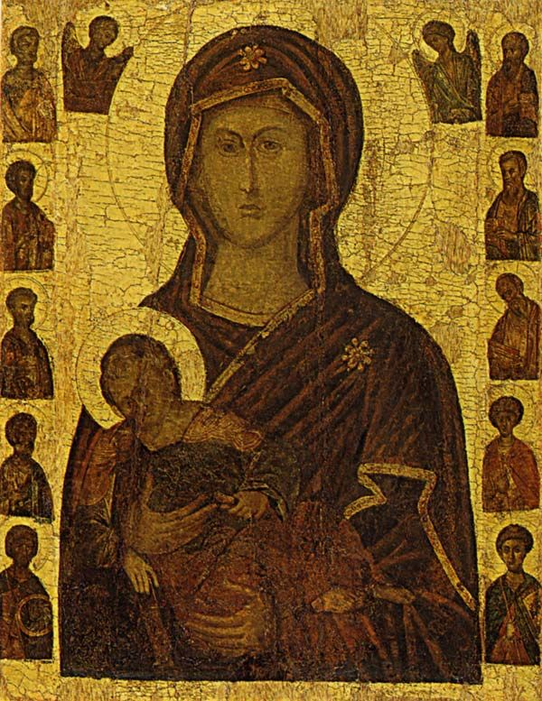 The Virgin with Christ, Apostles and Saints St John Climacus 1663 Cretan school