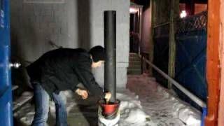 pocket rocket heater stove, via YouTube.