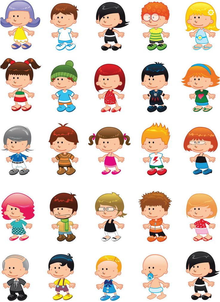 set of 25 different vector children figures in cartoon style for your designs related to children birthday cards posters web designs packaging etc