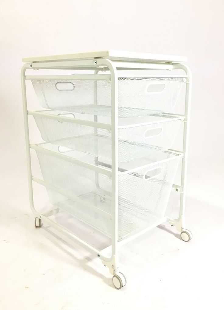 """PYF-0492--Metal White Net 3 Try Drawer with White Wooden Top(h28""""Xw16""""Xd24"""")"""
