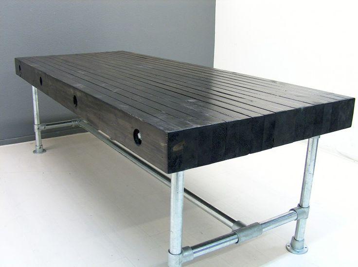 Tafel balken op zijn kant blackwash