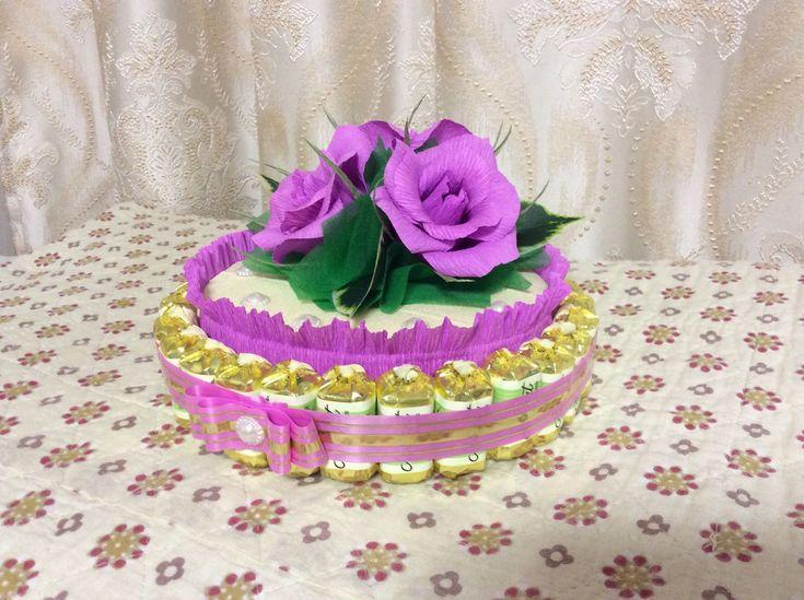 Купить Тортик из конфет - сиреневый, торт, тортик, сладкий подарок, сладкий сувенир, прекрасный подарок