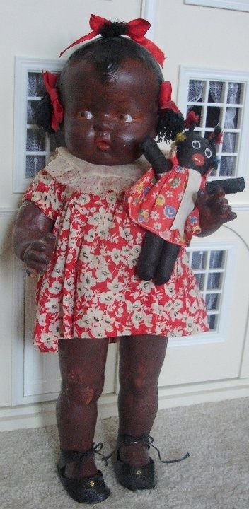 Love of Old Dolls  I HAVE A DOLL LIKE THIS IN MY COLLECTION.  IT WAS A GIFT FROM MY LATE MOTHER-IN-LAW.  MY LITTLE GIRL IS THE BABY VERSION WITH SHORT BENT KNEES BUT THE SAME FACE AND SHE IS MAID FROM COMPOSITION.