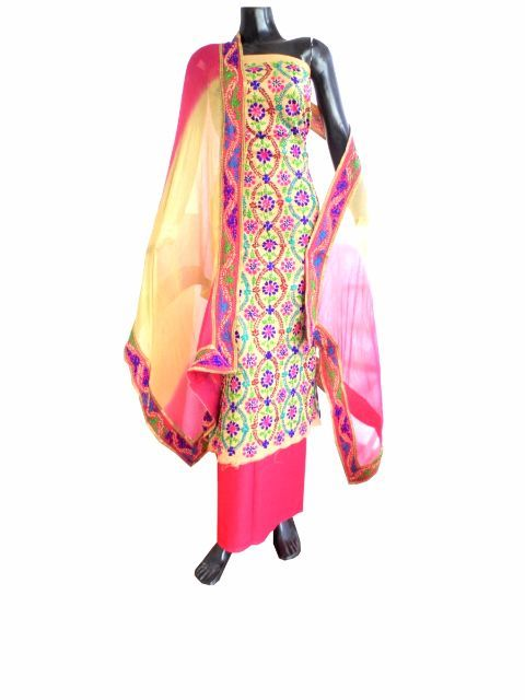 Handembroidered Salwar Suit with Champa Jaal- Beige&Pink:GiftPiper.com.This absolutely stunning phulkari suit piece has a cotton kurta which is hand embroid