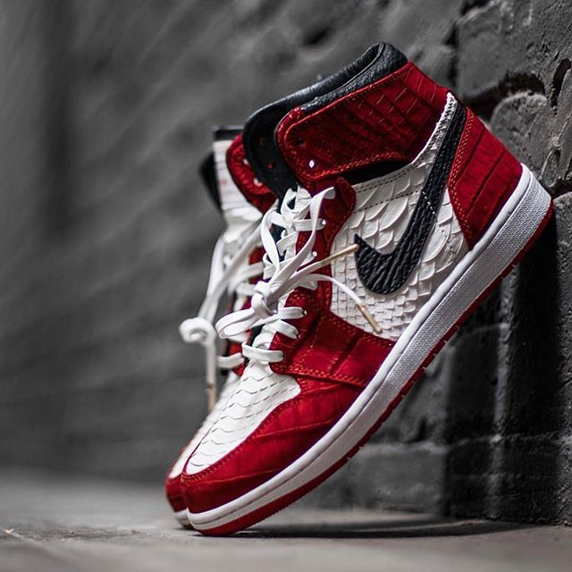 @theshoesurgeon delivers on decadence with these custom 'Chicago' Air Jordan 1s made from red sueded gator, white python and black shark #sneakerfreaker #snkrfrkr #airjordan #aj1 #customsneakers