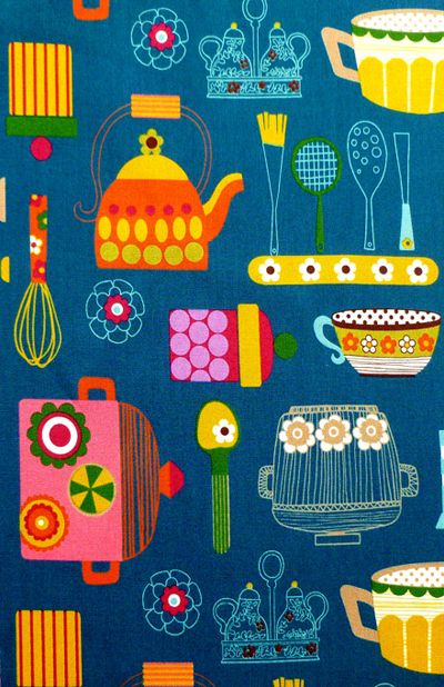 Cosmo Textile – Japanese Kitchen in teal | retro Japanese fabric print http://www.cosmo-tex.co.jp/