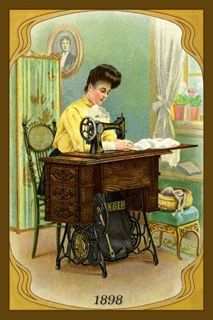 Nouveau Sewing - 1898 Trade Card. Quilt Block printed on cotton. Ready to sew.  Single 4x6 block $4.95. Set of 4 blocks with free wall hanging pattern $17.95