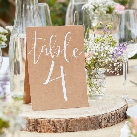 Tischnummern Hochzeit Vintage 1-12