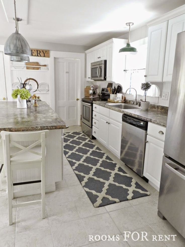 Download Wallpaper Grey And White Kitchen Rug