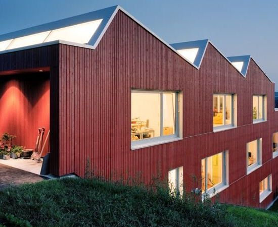 Prefab can deliver cost efficiency. Usslingen-Switzerland-Pre-Fab-Home - oh that lovely light from the north facing sawtooth roof!