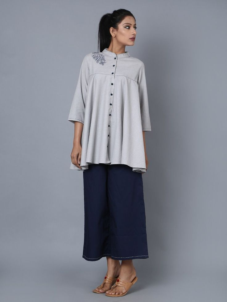 Grey Cotton Embroidered Top