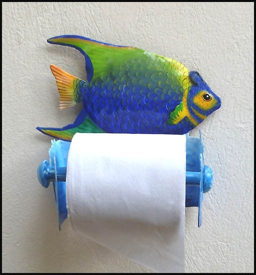 This charming tropical fish toilet paper holder will be a delightful addition to your bathroom decor, whether used for a toilet paper holder or guest towel holder. It has been hand cut from a recycled