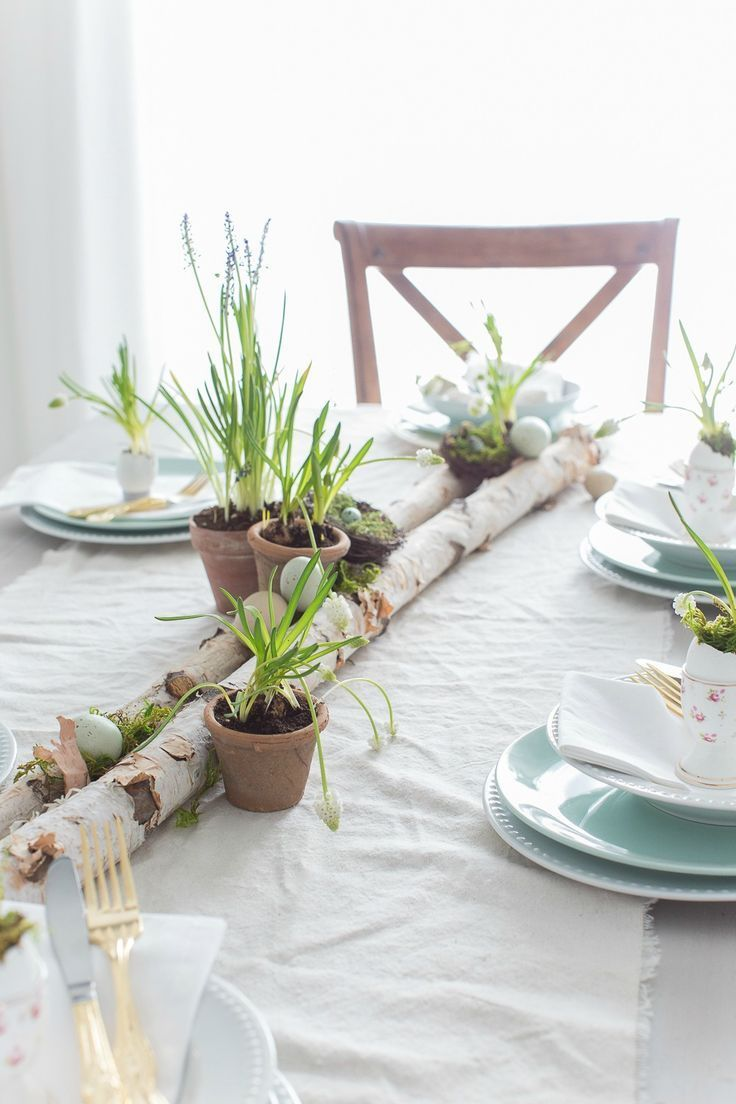 Nature inspired table setting for Easter.