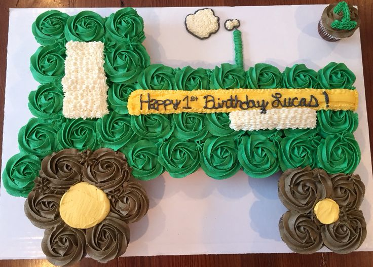 Tractor cupcake cake.