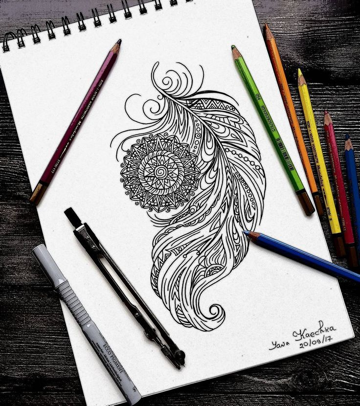 Making sketch for tattoo. Design before coloring Will be happy to create  tattoo design for you in  styles: mandala, mehendi, dream catchers and feathers  by @yana_kaechka) #mandalartKaechka #mandala #dreamcatcher #feathers