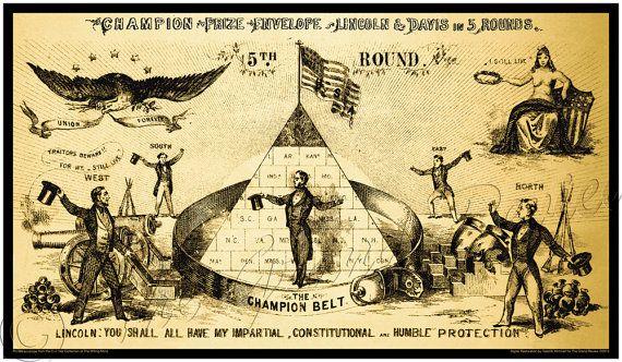 Civil War print - Round 5 - Abraham Lincoln versus Jefferson Davis - Abraham Lincoln - Wrestler or Wrastler