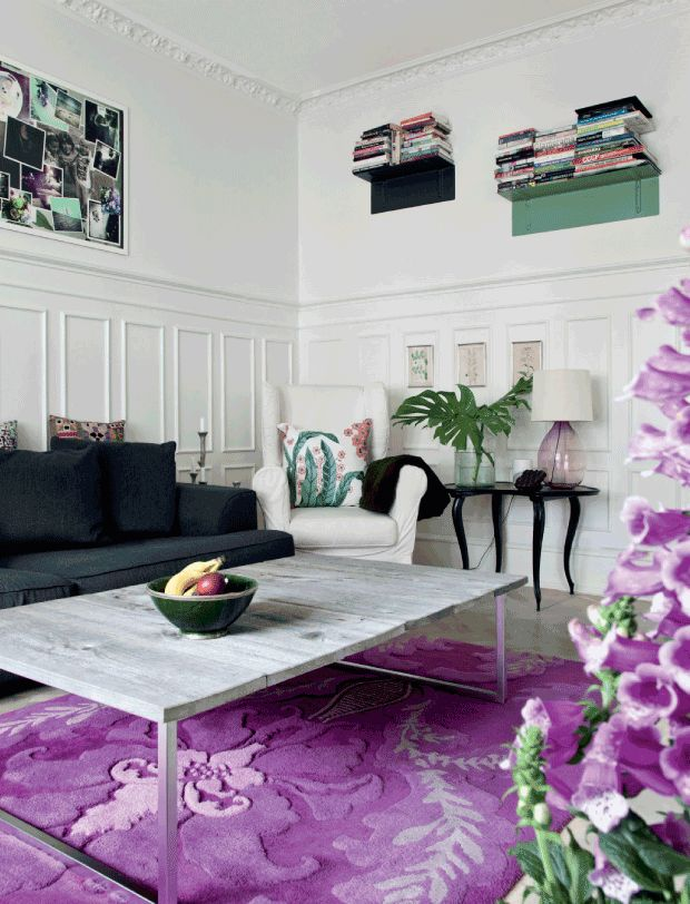 See more ideas about Purple living room paint, Purple living room sofas and  Dark purple