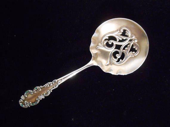 Sterling Enamel Pierced Bon Bon Candy Nut Spoon Antique R.