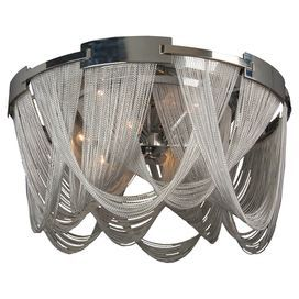 """Metal chandelier in silver with chain drapery.   Product: ChandelierConstruction Material: MetalColor: SilverAccommodates: (6) Bulbs - not includedDimensions: 21"""" H x 29"""" Diameter"""