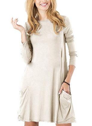 5b70de5d01 Sukienki Midi Modne Poliester Solidny Długi Rękaw