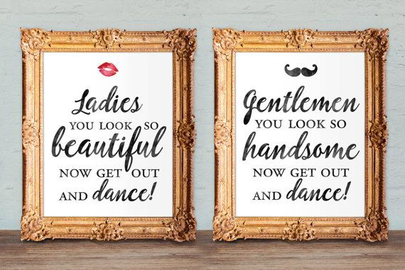 Wedding bathroom signs - womens and mens restroom - his and hers bathroom signs -  printable 8x10 (set of two)