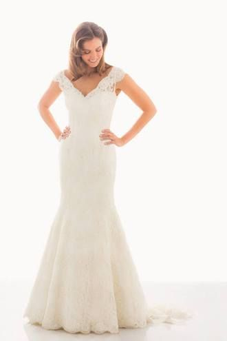 """Judd Waddell """"Madeline."""" V-neck fit and flare Alenon gown."""