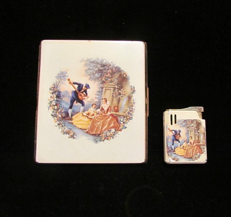 Vintage Colibri Cigarette Case And Lighter Set Enamel