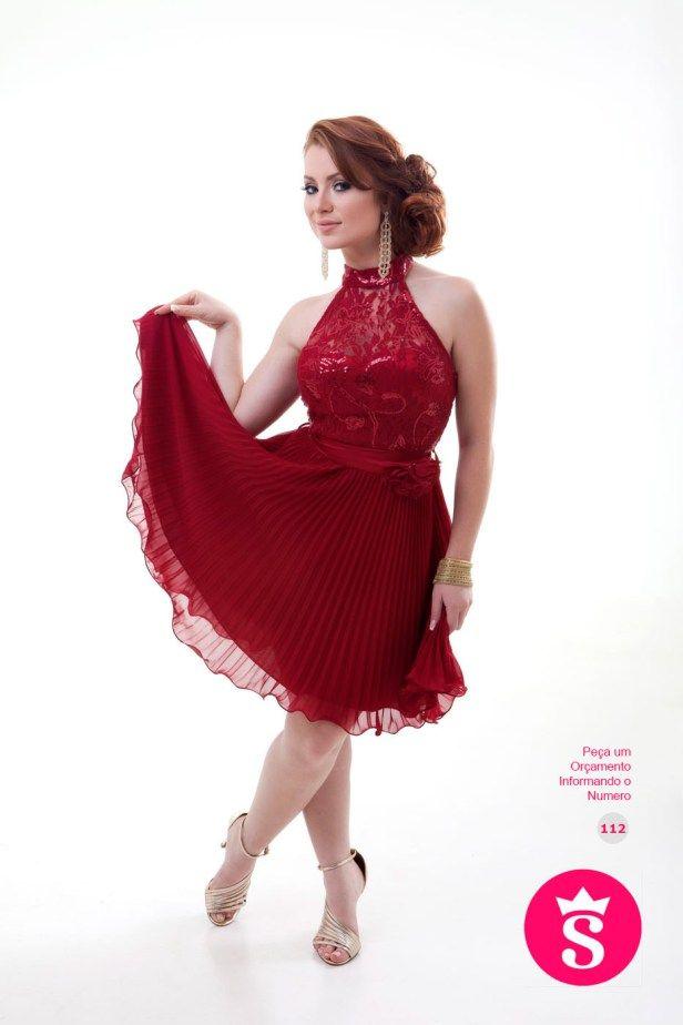 112 - Vestido Curto Vermelho com Brilho