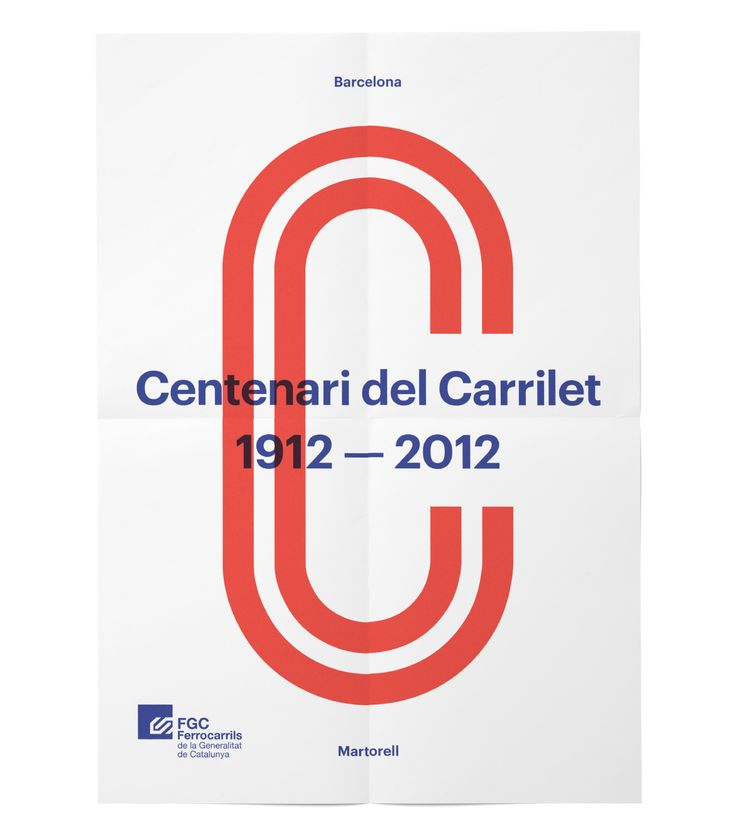 Poster commemorating the 100-years anniversary of the Carrilet railway line. It was developed on the occasion of a competition restricted to five studios.