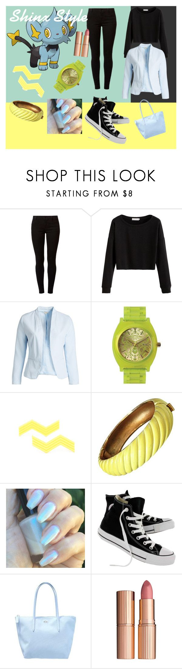 """""""Shinx Style (Pokemon)"""" by secondhandbag ❤ liked on Polyvore featuring Dorothy Perkins, Blu Pepper, Nixon, Trifari, Converse, Lacoste, Charlotte Tilbury and plus size clothing"""