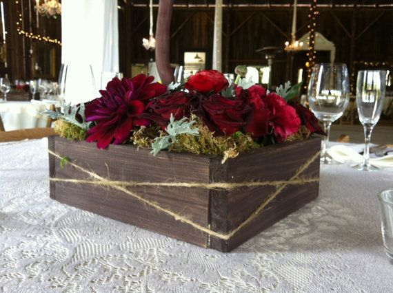 Wood centerpiece box by loriboedesign on etsy
